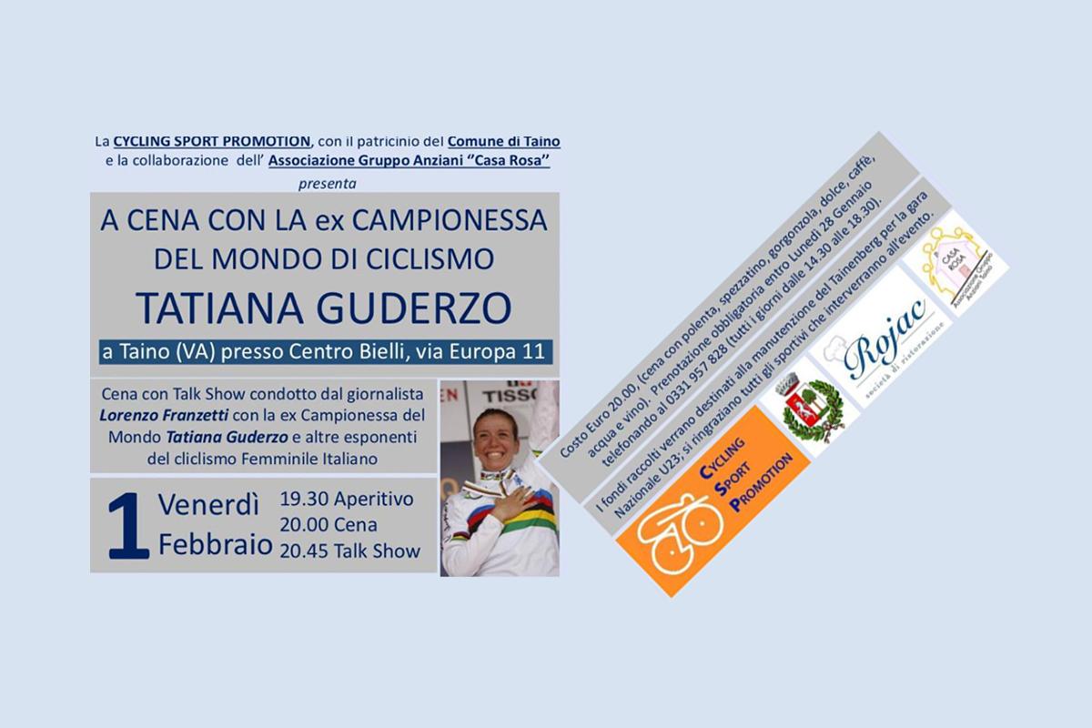 """<!--:it-->Venerdi' 1 Febbraio a Taino (VA) """"Cena con Tatiana Guderzo"""" e """"Talk Show"""" sul Ciclismo Femminile<!--:-->"""
