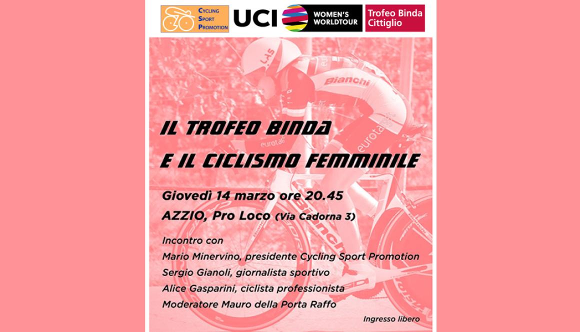 Questa sera ad Azzio (VA) tavola rotonda sul Ciclismo Femminile con Alice Gasparini
