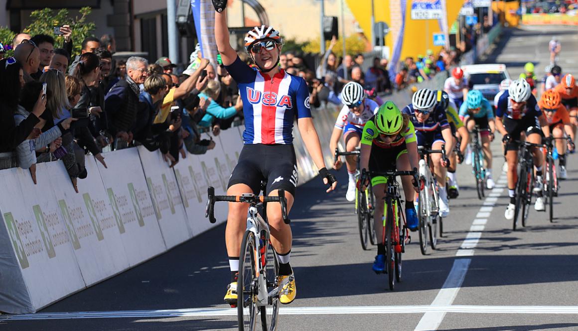 """(Italiano) Il """"Trofeo Da Moreno U.C.I. Nations' Cup"""" parla americano grazie a Megan Jastrab"""