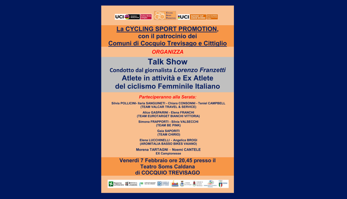 """Nella serata di Venerdì 7 Febbraio """"Talk Show"""" sul ciclismo femminile a Caldana di Cocquio Trevisago (VA)"""