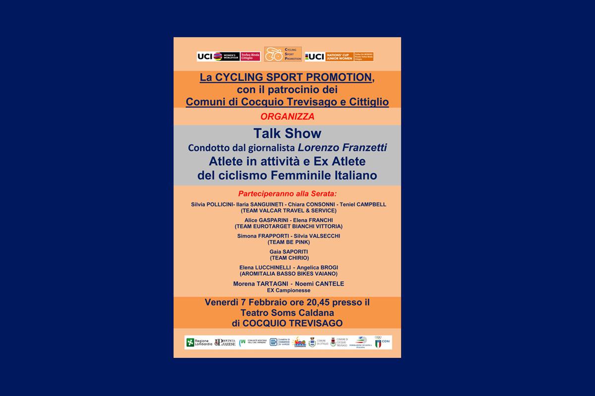 """<!--:it-->Nella serata di Venerdì 7 Febbraio """"Talk Show"""" sul ciclismo femminile a Caldana di Cocquio Trevisago (VA)<!--:-->"""